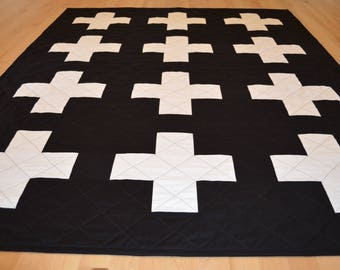 black and white plus quilt swiss cross quilt throw plus sign quilt plus