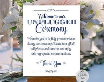 Unplugged Ceremony Printable Wedding Sign, Navy Blue Lettering (#UN13N)