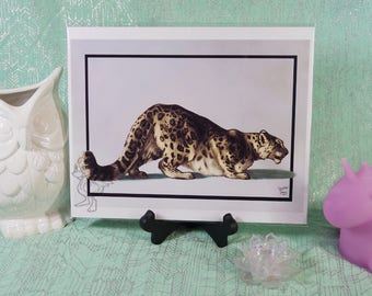 Traditional Snow Leopard Study Original Art Print