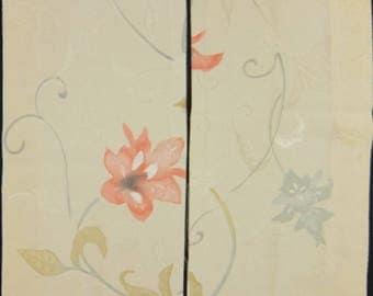 """SALE! 6.7 """"w. x 13.3 """"l. & 6.7 """"w. x 12.5 """"l. kimono fabric, Japanese fabric, kimono silk, kimono kawaii, clutch,  Orchis 1194I"""