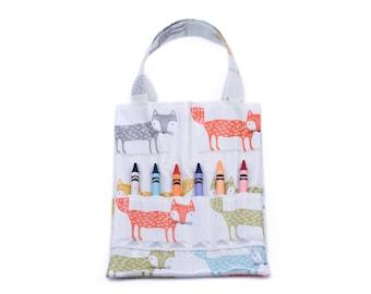 Kids Fox Colouring Bag, Crayon Tote, Book Bag,Fox Oilcloth, Children's Gifts