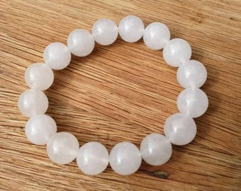 Clear White translucent Jadeite bead bangle, grade A icy