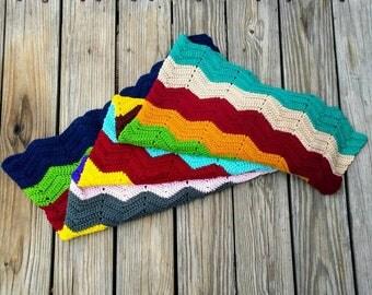 Handmade zig zag crochet afghan blanket multi color ready to ship