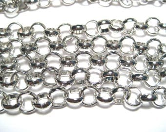5 ft Silver Tone ROLO Chain Links-Opened 7mm Iron Chain ( NO. 105Y)
