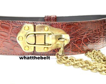 Vintage Belt DKNY Brown Leather Chain Belt Small