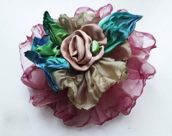 hand dyed clip-brooch, fabric clip-brooch, textile clip-brooch, large fluffy burgundy clip-brooch, handmade shibory clip-brooch,round brooch