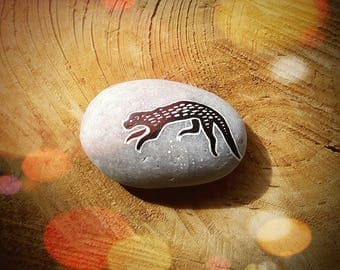 Swimming Otter Painted Pebble - Hand Painted Otter Art Totem Decoration Stone - MADE TO ORDER