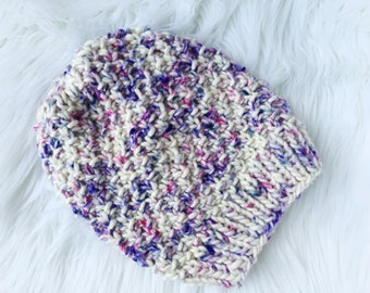 Handmade Knit Hat, Hand Dyed Wool, Knit Pom Pom Hat, Cozy Knit Hat, 100% Wool Hat