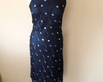 Vintage Navy blue Gatsby dress with mirrors size 10