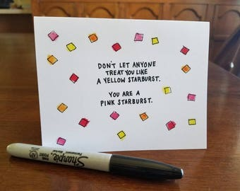 You Are a Pink Starburst - hand-doodled card