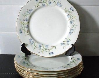 Vintage English Bone China Duchess Harebell Salad / Dessert Plate