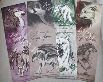set of 4 bookmarks werewolves * Wolf, Werewolf