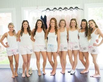bridesmaid pajamas, set of 8 SHORTS ONLY   Monogrammed sleep shorts, monogrammed pajamas, bridesmaid gift, wedding gift, monogrammed pjs