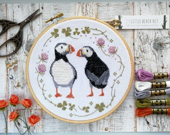 Bird cross stitch kit, puffins, bird lovers gift, easy cross stitch, beginners sewing kit, bird design, modern cross stitch, embroidery kit