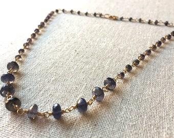 Iolite gemstone gold necklace