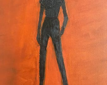 Oil painting woman silhouette made with recycle paper.