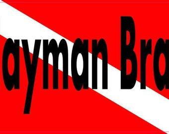 5in x 3in Cayman Brac Dive Flag Decal Vinyl Decal Car Bumper Stickers