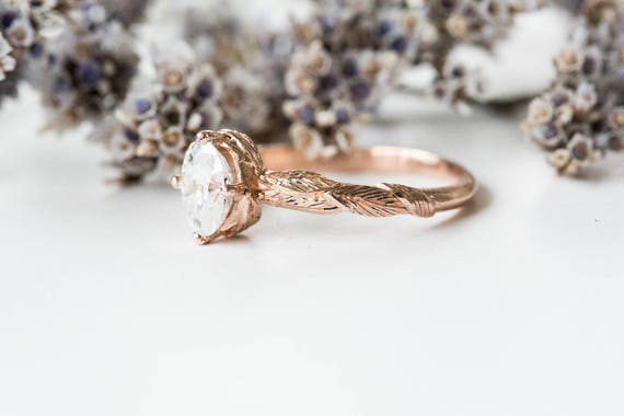 Oval moissanite gold feather engagement ring, vintage style engagement ring, oval moissanite ring, feather engagement ring, nature ring