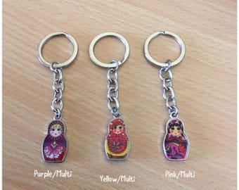 A Lovely Russian Doll - Matryoshka Enamel Keyring - 3 designs