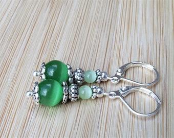 Mint And Neon Green Cat's Eye / Mexican Opal Semi Precious Gemstones Tibetan Silver Handmade Dangle Leverback Earrings Drop 44 mm