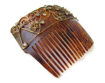 Hair Comb; Vintage Hair Comb, Faux Tortoiseshell Haircomb