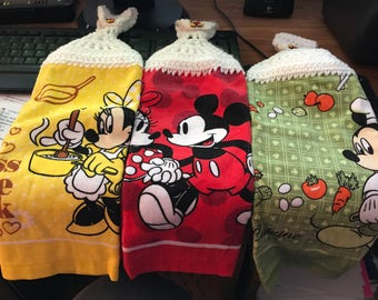 Crochet Disney Mickey Mouse & Minnie Mouse Single Towels Set of 3