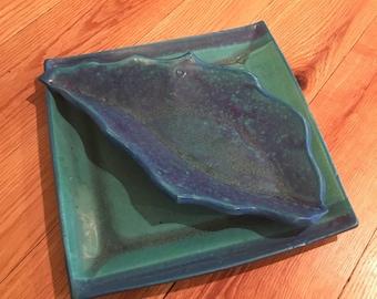 Handmade pottery retro dish