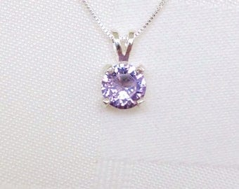 Alexandrite solitaire Sterling silver necklace, 1 carat alexandrite necklace, June birthstone solitaire necklace, alexandrite necklace