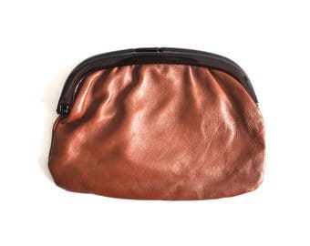 Vintage Chocolate Brown Leather Clutch Bag Made in Italy