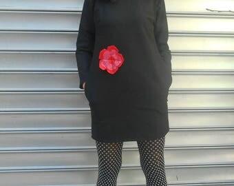 small linen dress black unique