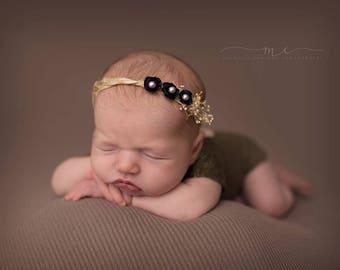 Stella-- Newborn Floral Tieback-- Newborn Photography Prop-- Newborn Headband