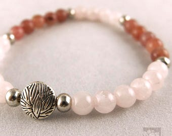 Pink Gem Beads / lotus Charm / Prayer beads, Meditation / Yoga Bracelet