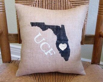 University of Central Florida pillow, Graduation gift, UCF pillow, Dorm room decor, FREE SHIPPING!
