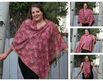 Classic Pink Paisley Pashmina Poncho Shawl