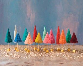 Rainbow Forest Bottlebrush Trees, Miniature Sisal Tree (4 inch - 4.5 inch - 5 inch) Jewel Tone Christmas Decor, Christmas Craft Supply