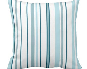 Teal and white striped ticking printed 100% cotton cushion cover
