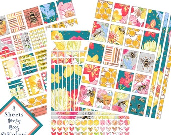 INSTANT DOWNLOAD - printable honey bee planner stickers, printable floral planner stickers, ECLP printables, watercolor flower stickers