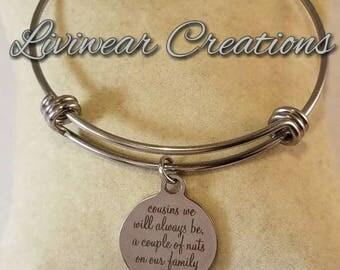 Cousin Stainless Steel Charm Bracelet, Cousin Gift, Birthday, Family, Funny Gift