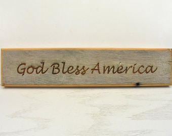 Rustic Reclaimed Barn Wood Sign - God Bless America