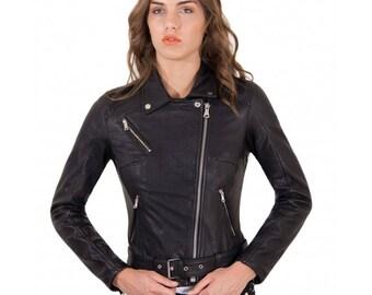 Genuine leather biker jacket, wizened soft lamb leather, black color
