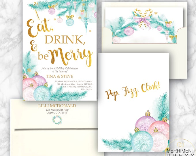 Eat Drink Be Merry // Christmas Party Invitation // Holiday Party // Pine // Ornaments // Chirstmas Tree // Pastel // ASPEN COLLECTION