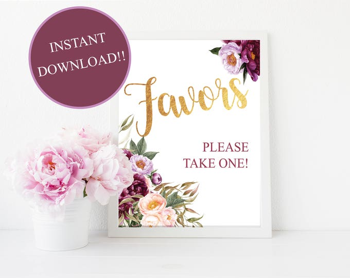 Favors Table Sign // Favors Print // Bridal // instant download // Baby // Floral // Burgundy // 8x10 or 5x7 // FLORENCE COLLECTION