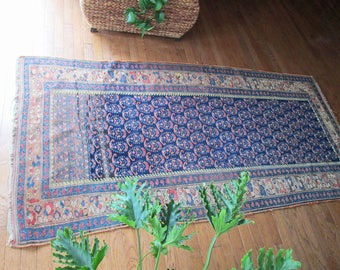 Reversible Antique Kilim Style Flat Weave Turkish Rug Red Blue