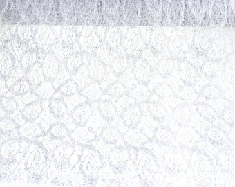 Vintage Glitter Lace Netting Decorating Roll, Silver, 19-inch, 5 Yards