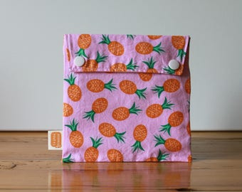 Reusable sandwich bag, reusable snack bag, fabric bag in Pink with Pineapples print [#127], eco friendly, no waste lunch, washable, ProCare