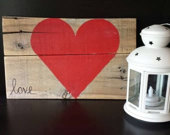 """A perfect way to say Happy Valentines Day! A hand painted """"love"""" sign made from recycled pallet."""