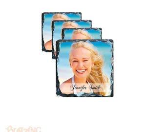 Slate Coaster Set Personalized with Custom Photo(s)