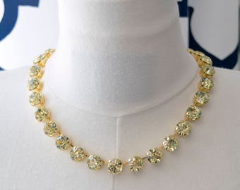 18th Century Reproduction Jonquil Yellow Rhinestone Paste Glass Collet Necklace.  Regency, Rococo, Colonial, Historical, Georgian.