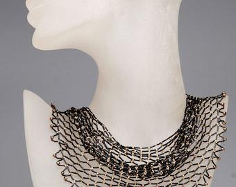Jewelry- Necklace- Handmade- Black golden color necklace-Beaded net sharf- Handwork-Beadwork