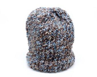 Brown/Blue Knit Hat